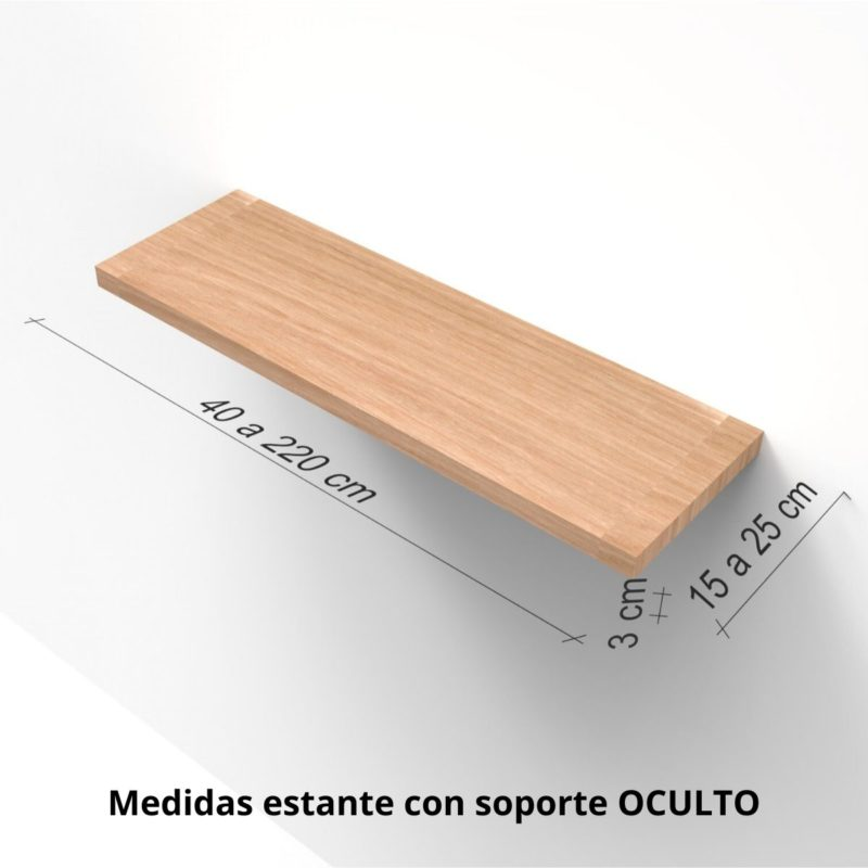 Medidas Estante pared Oculto